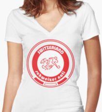 Euro 2016 Football - Team Switzerland Women's Fitted V-Neck T-Shirt
