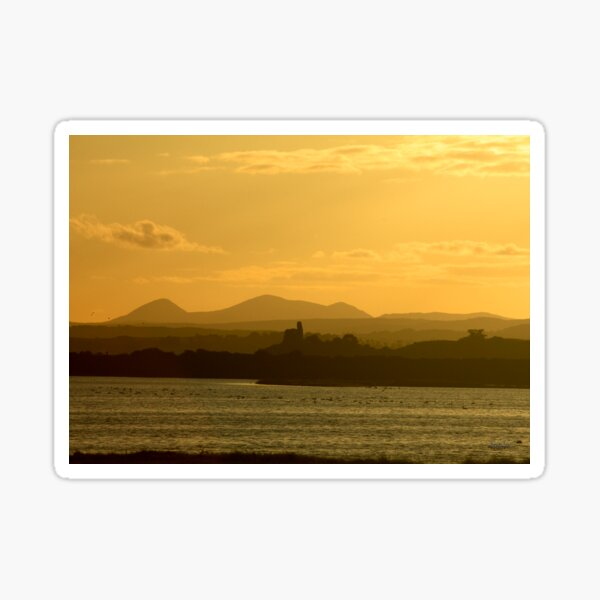 Twilight over Derryveagh mountains - with O'Doherty Castle from Inch Level Sticker