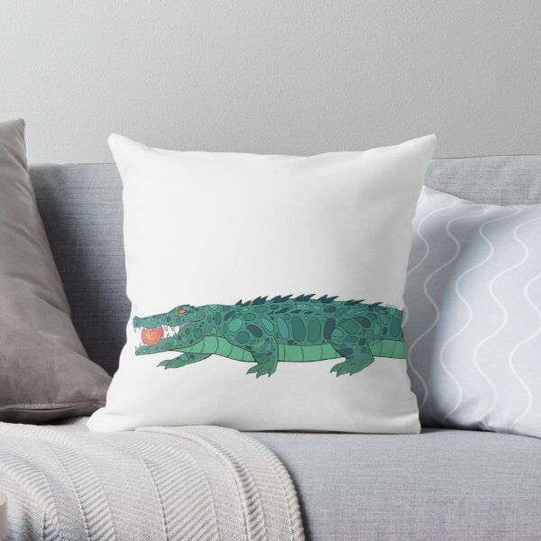 Sun eater crocodile - flat colored Throw Pillow