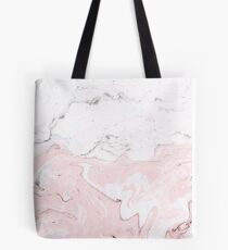 Pink and White Marble Print Tote Bag