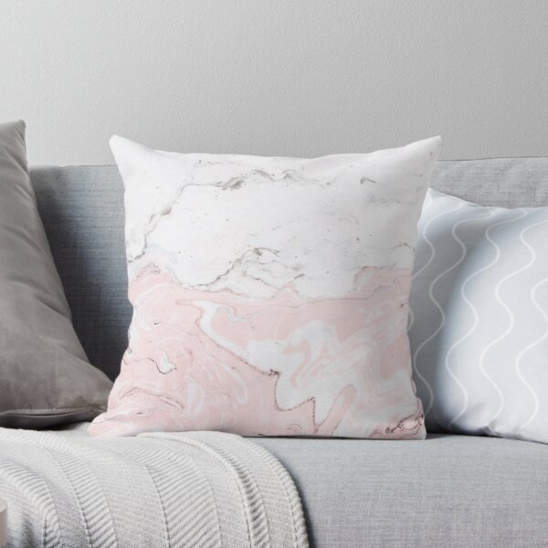 Pink and White Marble Print Throw Pillow