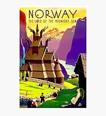 """NORWAY"" Land of Midnight Sun Advertising Print Photographic Print"
