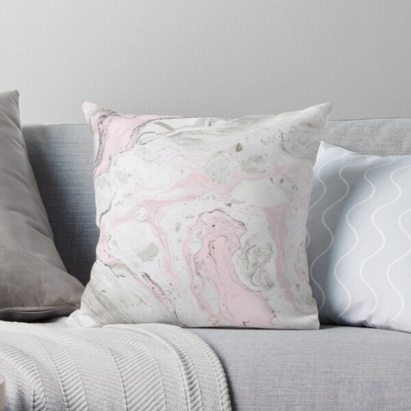 Pink and Gray Marble Print Throw Pillow
