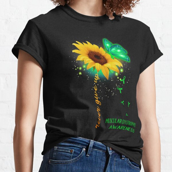 Never Give Up Sunflower Ribbon Muscular Dystrophy Awareness Classic T-Shirt