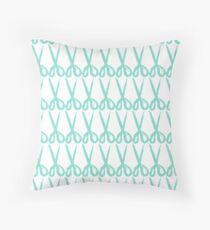 Seagreen scissors pattern Throw Pillow