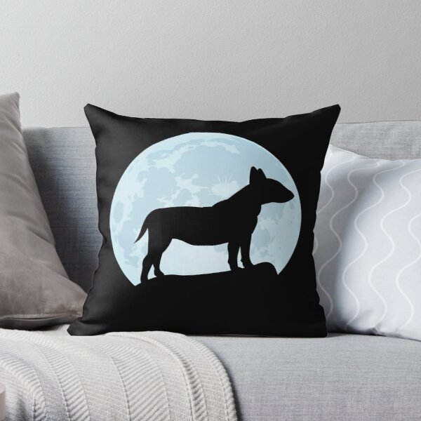 English Bull Terrier Cushion Shaped Satin Front  Velour Black  With Plump Fill