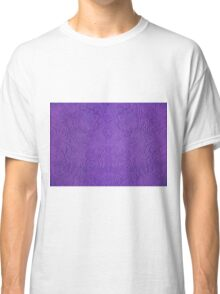Purple Tones Suade Leather Embossed Floral Pattern Classic T-Shirt