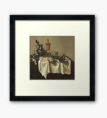 Willem Claesz Heda - Banquet Piece With Mince Pie 1635 . Still life with fruits and vegetables: fruit, Lemon , glass of wine, tasty, gastronomy food, flowers, dish, cooking, kitchen, vase Framed Print