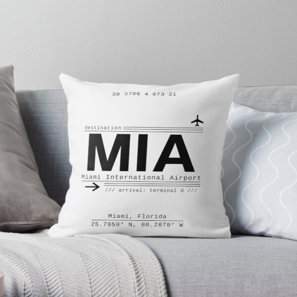 MIA Miami International Airport Call Letters Throw Pillow