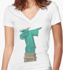 DAB New York Liberty Statue of Liberty Women's Fitted V-Neck T-Shirt