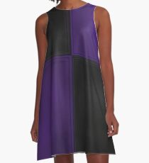 Patchwork Purple and Black Leather Motley A-Line Dress