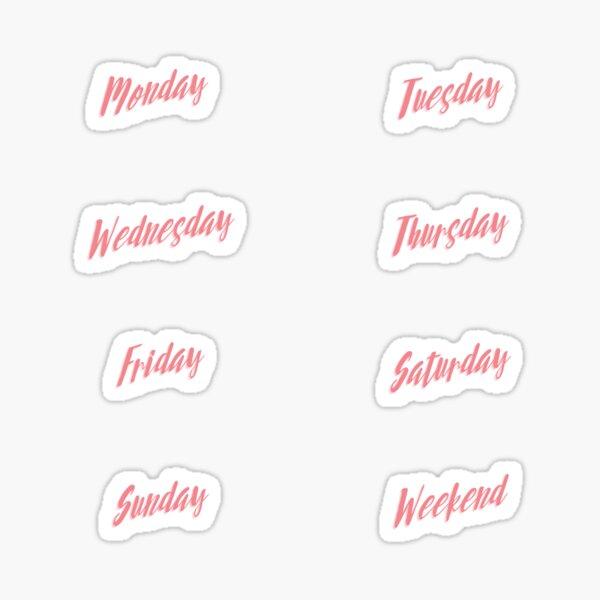 Days of the week set - pink text Sticker