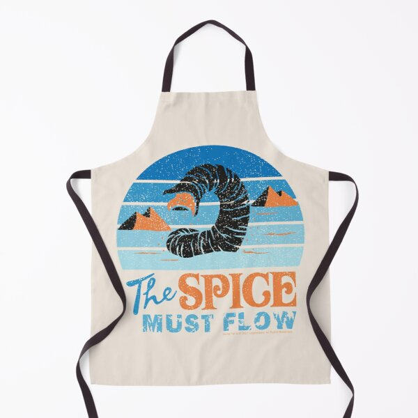 The Spice Must Flow - Vintage Sandworm Circular Shades of Blue - Dune (2021 film) Apron