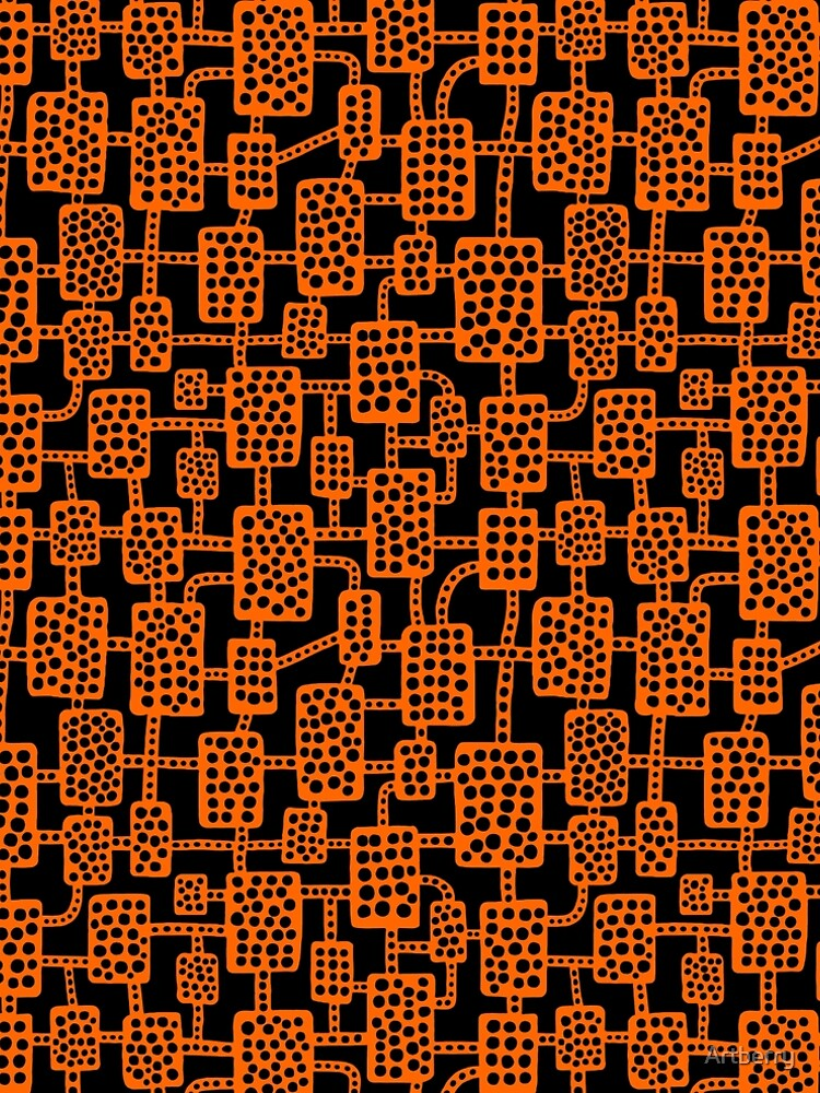 Abstract pattern 041113 - Orange on Black by Artberry