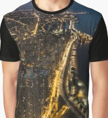 Nightime Chicago looking north from the John Hancock observatory. Graphic T-Shirt