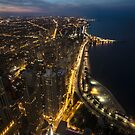 Nightime Chicago looking north from the John Hancock observatory. by Sven Brogren