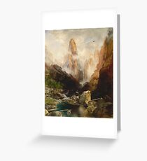 Thomas Moran - Mist In Kanab Canyon, Utah. Mountains landscape: mountains, rocks, rocky nature, sky and clouds, trees, peak, forest, Canyon, hill, travel, hillside Greeting Card