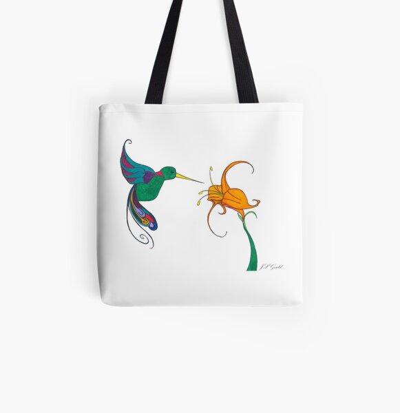 Hummingbird Flower All Over Print Tote Bag