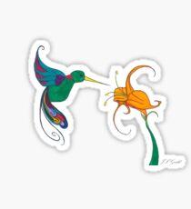 Hummingbird Flower Sticker