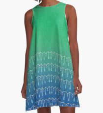 Droplets, Green and Blue A-Line Dress