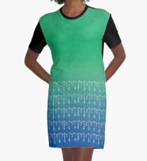 Droplets, Green and Blue Graphic T-Shirt Dress