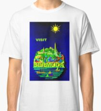 """BERMUDA"" Vintage Travel Advertising Print Classic T-Shirt"