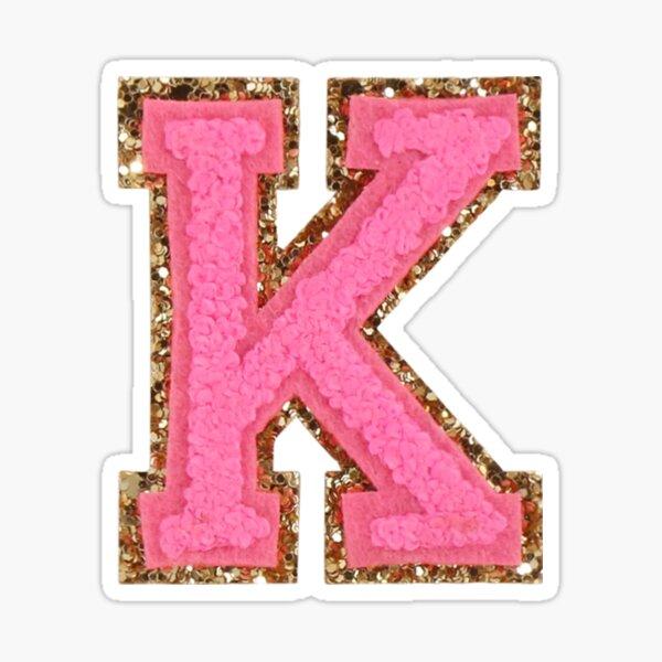 K - Bubblegum Glitter Varsity Letter Patches Sticker