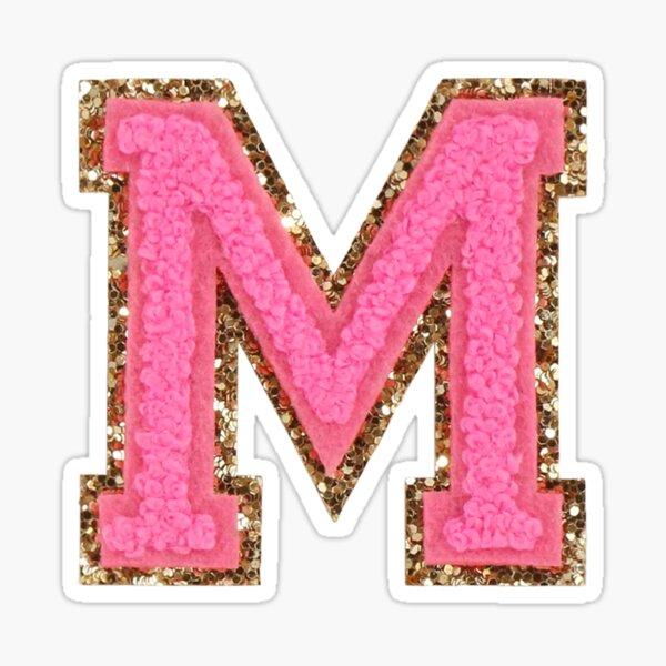 M - Bubblegum Glitter Varsity Letter Patches Sticker