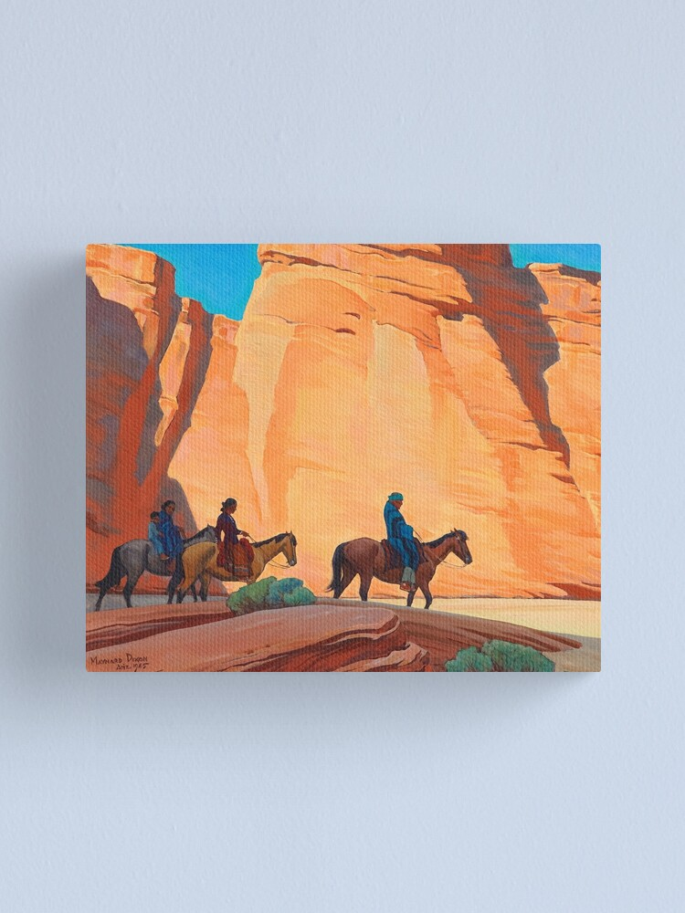 Alternate view of Navajos in a Canyon, 1945 by Maynard Dixon Canvas Print