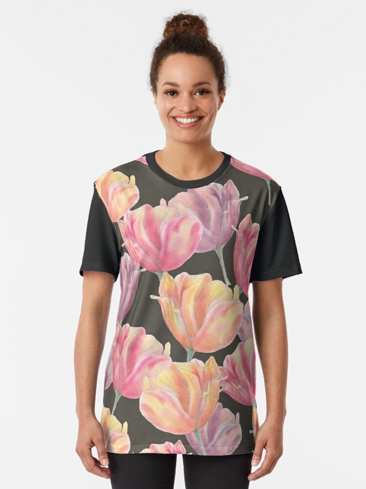 Alternate view of Tulip field Graphic T-Shirt