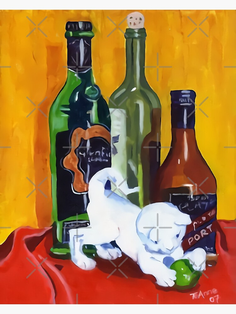 White cat ornament with wine bottles by TeAnne
