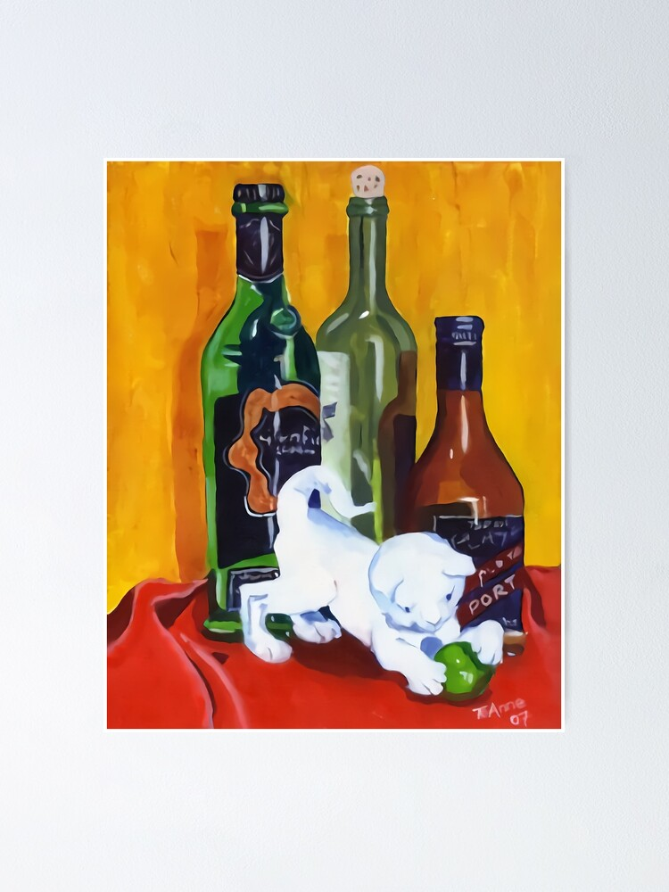 Alternate view of White cat ornament with wine bottles Poster