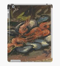 Vincent Van Gogh - Prawns And Mussels. Still life with prawns and mussels: prawns , mussels, grapes, tasty, gastronomy food, flowers, dish, cooking, kitchen, vase iPad Case/Skin