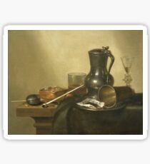 Willem Claesz Heda - Tobacco Still Life 1637 . Still life with fruits and vegetables: fruit, Tobacco, glass , tasty, gastronomy food, glass of wine, dish, cooking, kitchen, vase Sticker