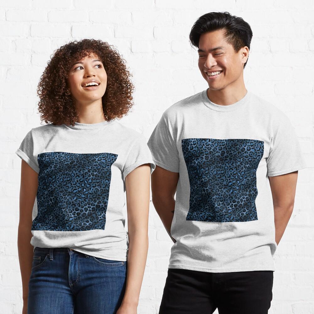 Blue and Black Leopard print, Animal Print Classic T-Shirt