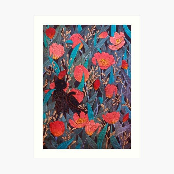 Black cat and tulips Art Print