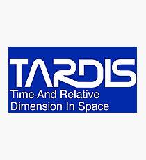 NASA Worm Logo TARDIS (White) Photographic Print