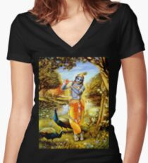 Yoga Pants Bali Krishna Women's Fitted V-Neck T-Shirt