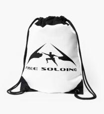 Rock Climber Free Soloing Drawstring Bag