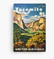 Yosemite United Air Lines Vintage Travel Poster Canvas Print