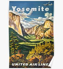 Yosemite United Air Lines Vintage Travel Poster Poster