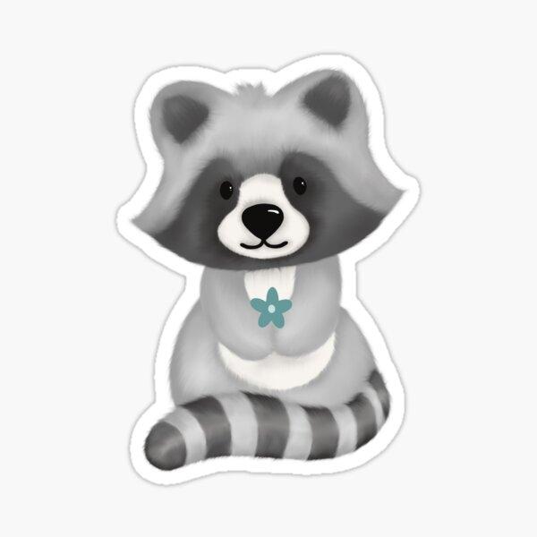 Cute raccoon with flowers Sticker