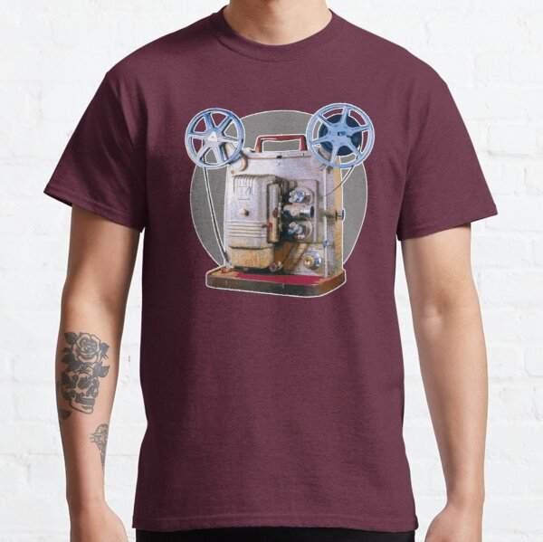 Vintage 8MM Home Movie Cameras: Retro Keystone 8MM Home Movie Projector on Gray Circle Classic T-Shirt