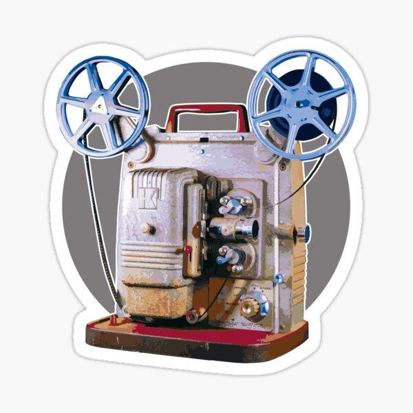 Vintage 8MM Home Movie Cameras: Retro Keystone 8MM Home Movie Projector on Gray Circle Sticker