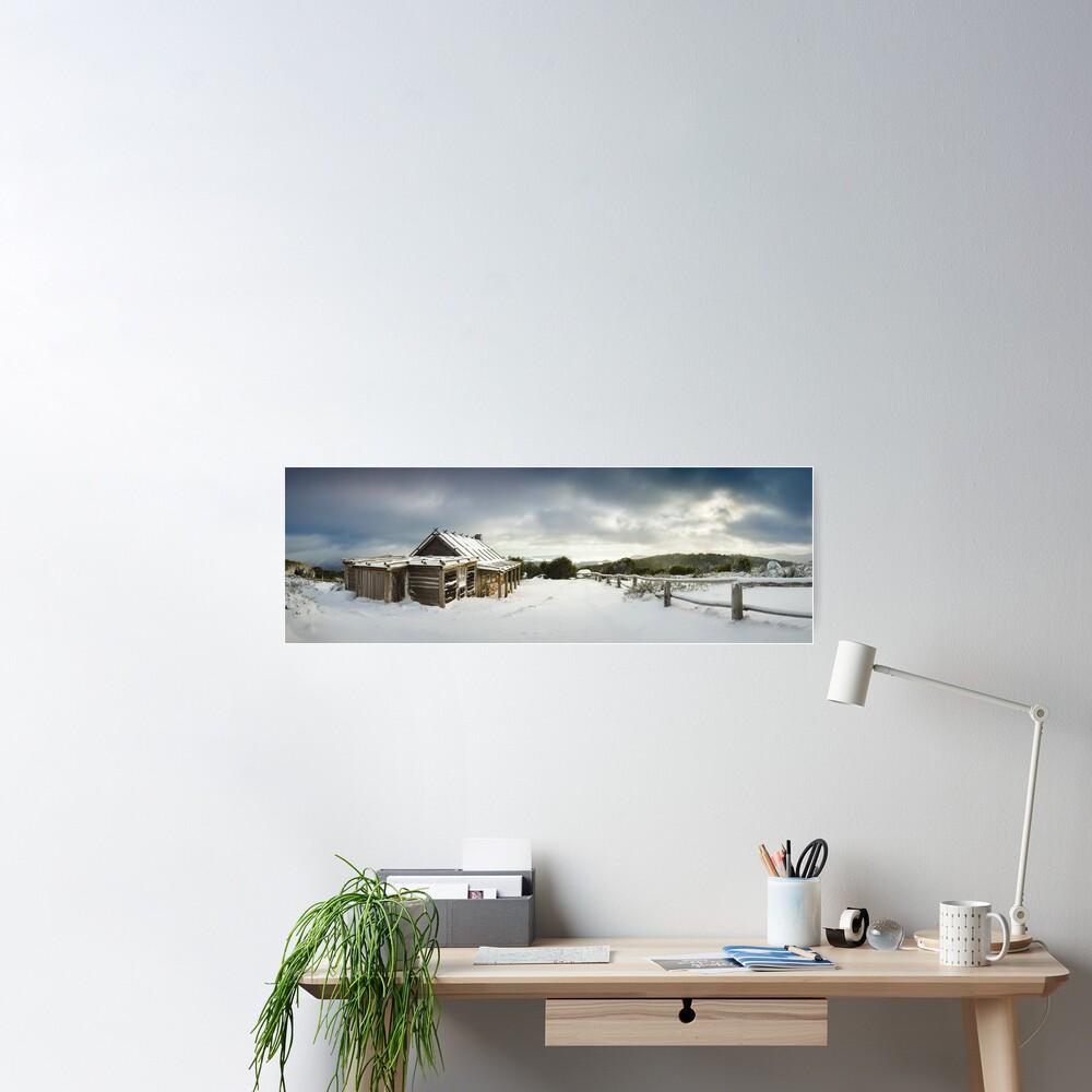 Craigs Hut Winter Morning, Mt Stirling, Victoria, Australia Poster