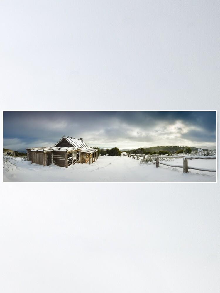 Alternate view of Craigs Hut Winter Morning, Mt Stirling, Victoria, Australia Poster