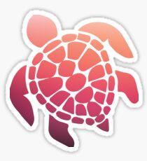 Pegatina puesta de sol rosa ombre tortuga de mar