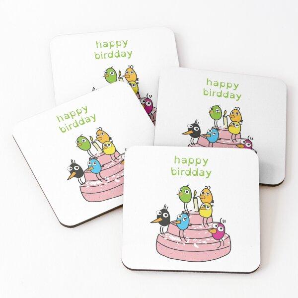 Happy Birdday! \ by Suzies Sparrow Coasters (Set of 4)