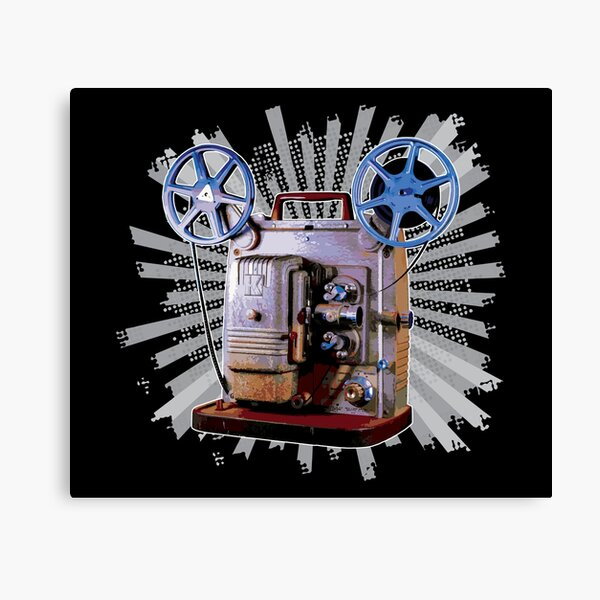 Vintage 8MM Home Movie Cameras: Retro Keystone 8MM Home Movie Projector on Bold Gray Pop Art Splash Canvas Print