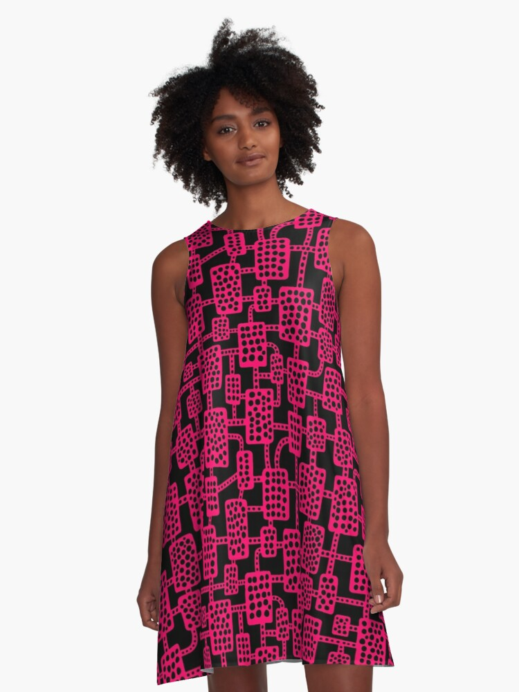 Abstract pattern 041113 - Neon Red on Black A-Line Dress Front